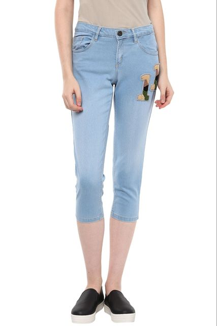 Light Wash Calf Length Denim Detailed With Multicoloured Numerical Appliques On Left /TRF350170