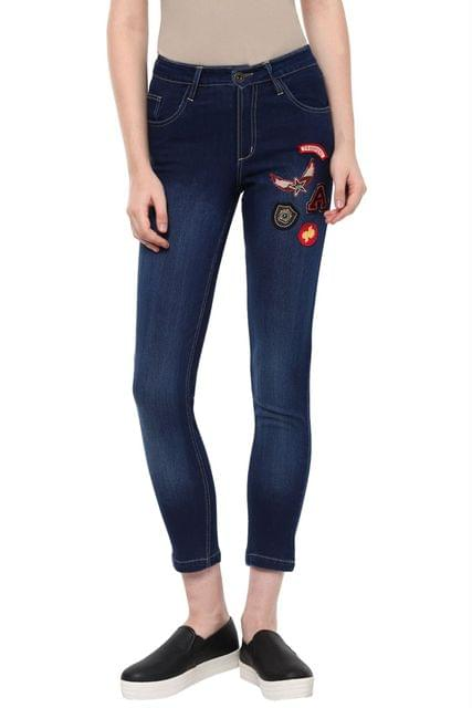 Dark Wash Denim Detailed With Colourful Crests On Right /TRF350169