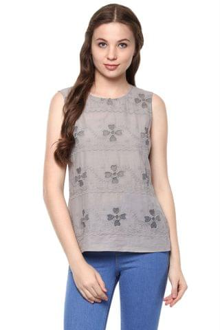 Grey Color Embroidered Top With A Round Neck And Back Button Down Detail /TSF400836