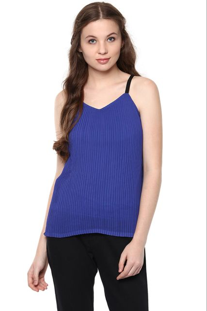 Blue Spaghetti V Neck Top With Pintuck Detailing  /TSF400833