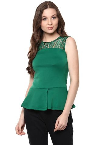 Solid Green Color Peplum Top With Floral Lace Detailing At The Yoke /TSF400840