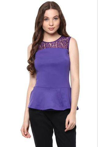 Solid Purple Color Peplum Top With Floral Lace Detailing At The Yoke /TSF400841