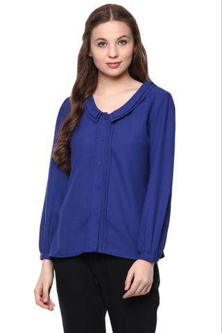 Solid Navy Color Shirt With Bishop Sleeves And Pintuck Detailing Alongside Placket /TSF400881
