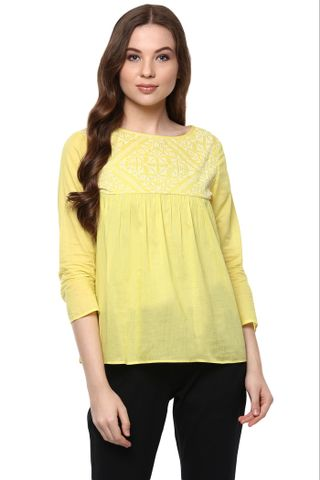 Solid Yellow Color Top With Embroidered Yoke And A Keyhole Detail At Back /TSF400873
