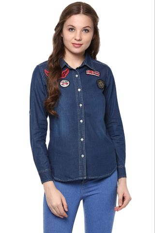Dark Wash Denim Shirt With Crest Detailing At The Front.  /TSF400883