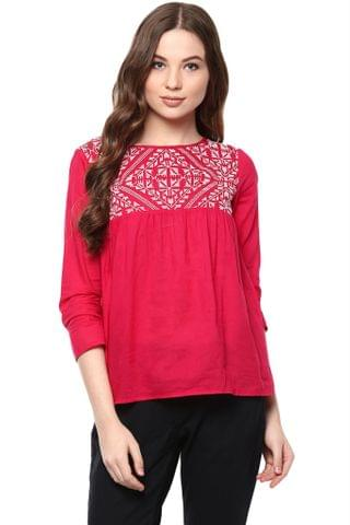 Solid Fuchsia Color Top With Embroidered Yoke And A Keyhole Detail At Back /TSF400872
