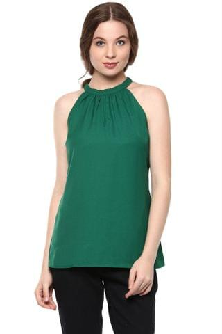 Solid Green Color Top With Raglan-Cut Sleeves And Gathers Around Neckline /TSF400882