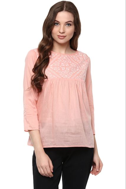 Solid Peach Color Top With Embroidered Yoke And A Keyhole Detail At Back /TSF400874