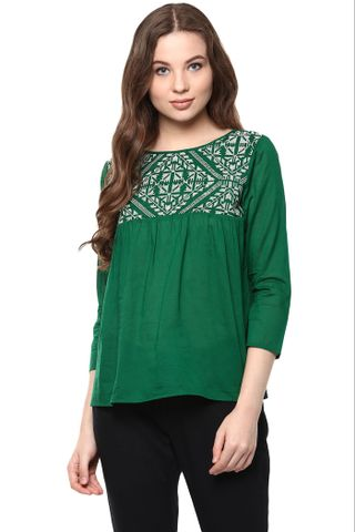 Solid Green Color Top With Embroidered Yoke And A Keyhole Detail At Back /TSF400875