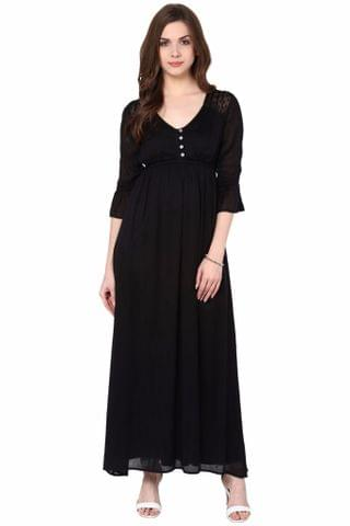 V Neck Maxi Dress In Black Color With Ruffles At Sleeves /DRF500608