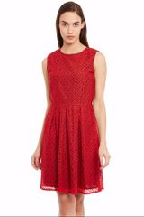 Skater Dress In Red Color With Pleats /DRF500596