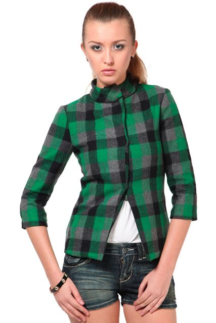 Green Check Full Sleeves Tweed Jacket /JKF400121