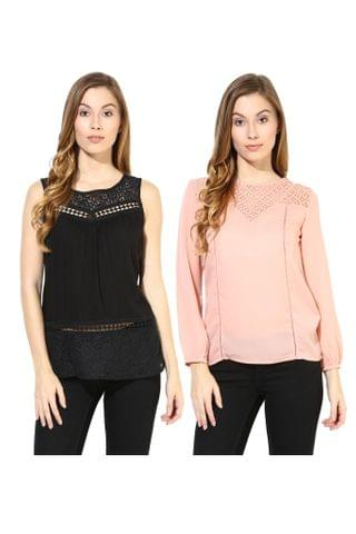 Women's Stylish Solid And Lace Tops Combo Pack Of 2 /CMT610010