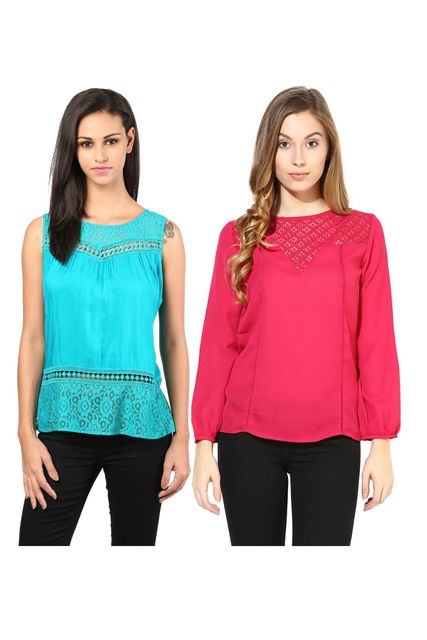 Women's Stylish Solid And Lace Tops Combo Pack Of 2 /CMT610011