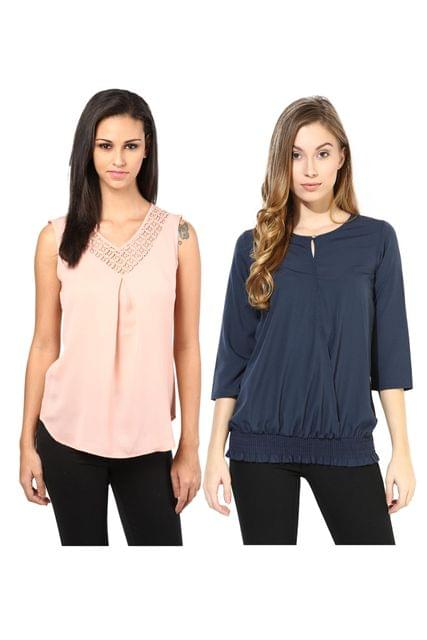 Women's Stylish Solid And Lace Tops Combo Pack Of 2 /CMT610013