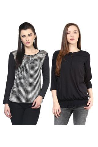 Women's Stylish Black Tops Combo Pack Of 2 /CMT610014