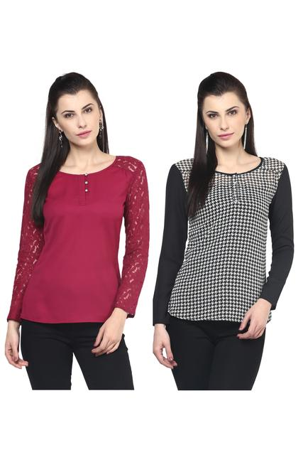 Women's Stylish Front Button Up Tops Combo Pack Of 2 /CMT610019