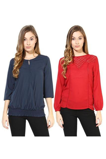 Women's Stylish Solid And Lace Tops Combo Pack Of 2 /CMT610020