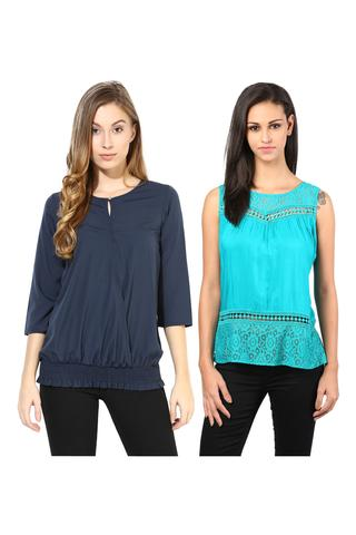 Women's Stylish Solid And Lace Tops Combo Pack Of 2 /CMT610021