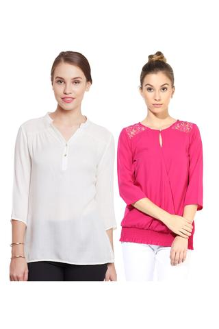 Women's Stylish Solid And Lace Tops Combo Pack Of 2 /CMT610025