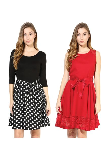 Women's Stylish Flare Dresses Combo Pack Of 2 /CMD620000