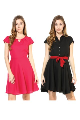 Women's Stylish Solid Flare Dresses Combo Pack Of 2 /CMD620005
