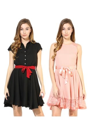 Women's Stylish Solid Flare Dresses Combo Pack Of 2 /CMD620001