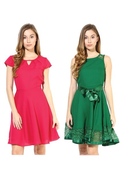 Women's Stylish Solid Flare Dresses Combo Pack Of 2 /CMD620002
