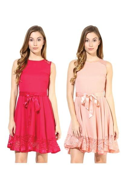 Women's Stylish Solid Flare Dresses Combo Pack Of 2 /CMD620003