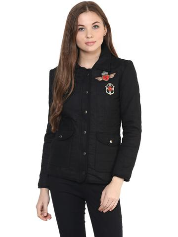 Front Zip Solid Black Quilted Jacket With A Collar Neck And Patch Motifs On The Front/ JKF450232