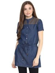 Front Button Down Dress In Dark Wash Denim With Ladder Lace And Embroidery Detail At Yoke/ DRF500654