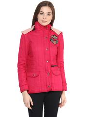 Front Zip Solid Fuchsia Quilted Hoodie Jacket With Patch Motifs On The Front/ JKF450233