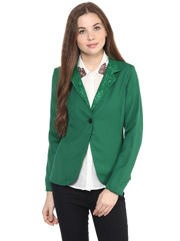 Solid Green Color Jacket With Embroidered Detail At Notched Lapel Collar / JKF450219
