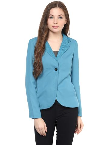 Solid Blue Color Formal Blazer With Lace Work At Lapel Collar/ JKF450239