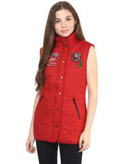 Front Button Down Solid Red Quilted Jacket With A High Neck And Patch Motifs On The Front/ JKF450224