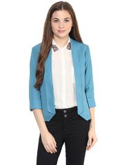 Solid Blue Color Formal Blazer With Shawl Collar And Pointy Front/ JKF450240