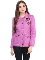 Front Zip Solid Purple Quilted Jacket With A Collar Neck And Patch Motifs On The Front/ JKF450230