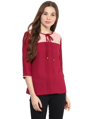 Solid Marsala Color Top With Contrast Lace Insert At Yoke Featuring A Tie Up Detail Around Neck/ TSF400866