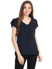 Solid Navy Blue Color Top With Petal Sleeves/ TSF400878