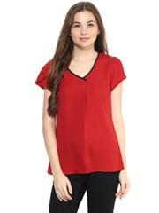 Solid Red Color Top With Petal Sleeves/ TSF400867
