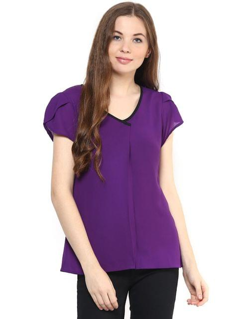 Solid Purple Color Top With Petal Sleeves/ TSF400879
