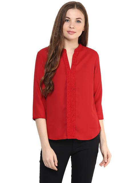 Solid Red Color Top With A Lace Detailing Around Neckline And A Pleated Front/ TSF400868
