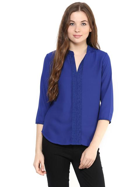 Solid Blue Color Top With A Lace Detailing Around Neckline And A Pleated Front/ TSF400880