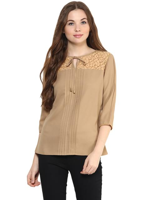 Solid Khaki Color Top With Lace Insert At Yoke Featuring A Tie Up Detail Around Neck/ TSF400876