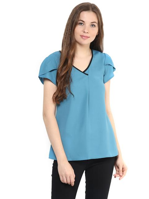 Solid Teal Color Top With Petal Sleeves/ TSF400885