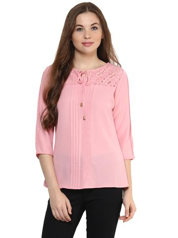 Solid Pink Color Top With Lace Insert At Yoke Featuring A Tie Up Detail Around Neck/ TSF400877