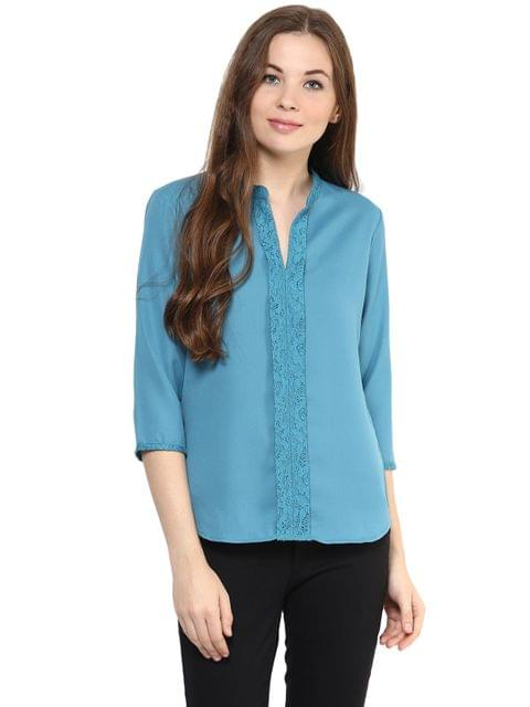 Solid Teal Color Top With A Lace Detailing Around Neckline And A Pleated Front/ TSF400886