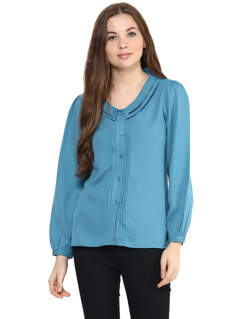 Solid Teal Color Shirt With Bishop Sleeves And Pintuck Detailing Alongside Placket/ TSF400887
