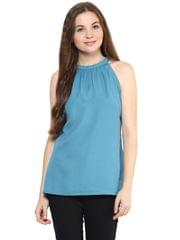 Solid Teal Color Top With Raglan-Cut Sleeves And Gathers Around Neckline/ TSF400888
