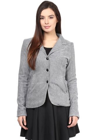Knit Jacket In Blue Color With Lapel Collar/DOD-JKF450149